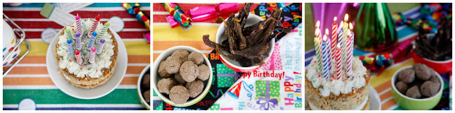 DIY dog birthday party buffet table with cake and treats