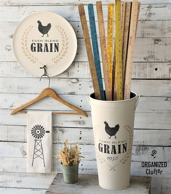Farm Blend Grain Stencil Projects with Old Sign Stencils #stencil #oldsignstencils #thriftshopmaker #garagesalefinds