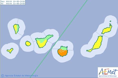 alerta naranja  calor Gran Canaria miercoles, 10 agosto
