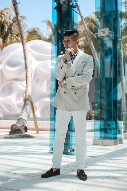 Men's Summer Style, Double Breasted Blazer, Persol Sunglasses, Paul Evans Suede Loafers