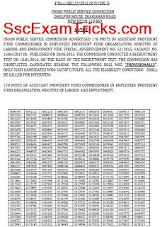 UPSC APFC Result 2016 Declared