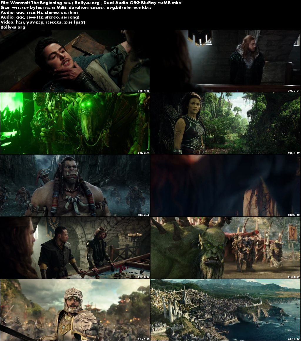 Warcraft The Beginning 2016 BRRip 350MB Hindi Dual Audio ORG 480p Download