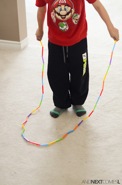 DIY skipping rope made from straws from And Next Comes L