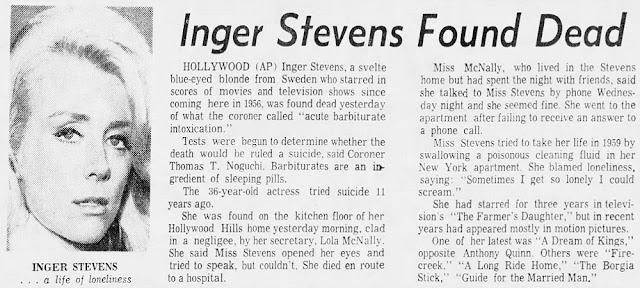 Inger Stevens Suicide