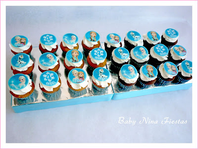 Minicupcakes temáticos frozen