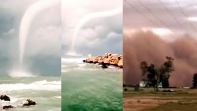 Una gigantesca tromba marina aparece en Chipre y una colosal tormenta de arena golpea Australia