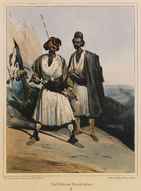 """Palikaria"", members of irregular troops of Roumeli, Greece. Théodore Leblanc (1800? - 1837)"