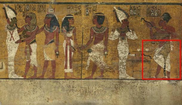 Análisis de la pared norte de la cámara funeraria del rey Tutankamón han revelado características debajo del yeso del complejo adornado (resaltado). Un investigador cree que puede ser una puerta oculta, posiblemente, a la cámara de entierro de Nefertiti.