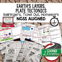 Plate Tectonics Worksheets, Earth Science NGSS Bellringers, Science Warm Ups, Science Homework, Science Ticket Out