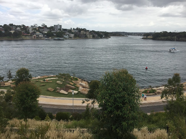 A view over the harbour from the top of the Barangaroo hill