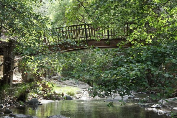 bridge over river at Tassajara Zen Mountain Center in Carmel Valley California