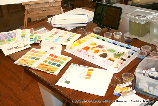 Color mixing for the artwork with reference book and previous color mixing charts.