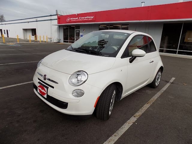 Fiat 500 fresh from the dealer in its original white paint.