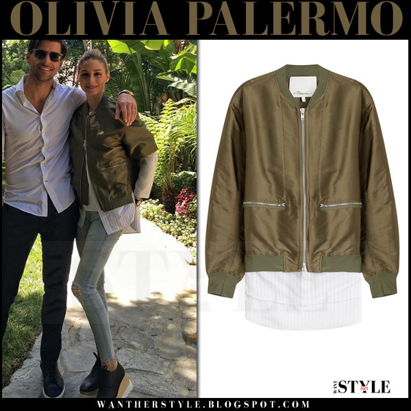 Olivia Palermo in green satin phillip lim bomber jacket, skinny jeans and platform stella mccartney britt oxfords what she wore spring trend