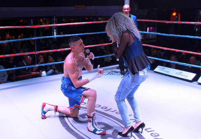 Photos: South African boxer proposes to his girlfriend inside boxing ring on her birthday