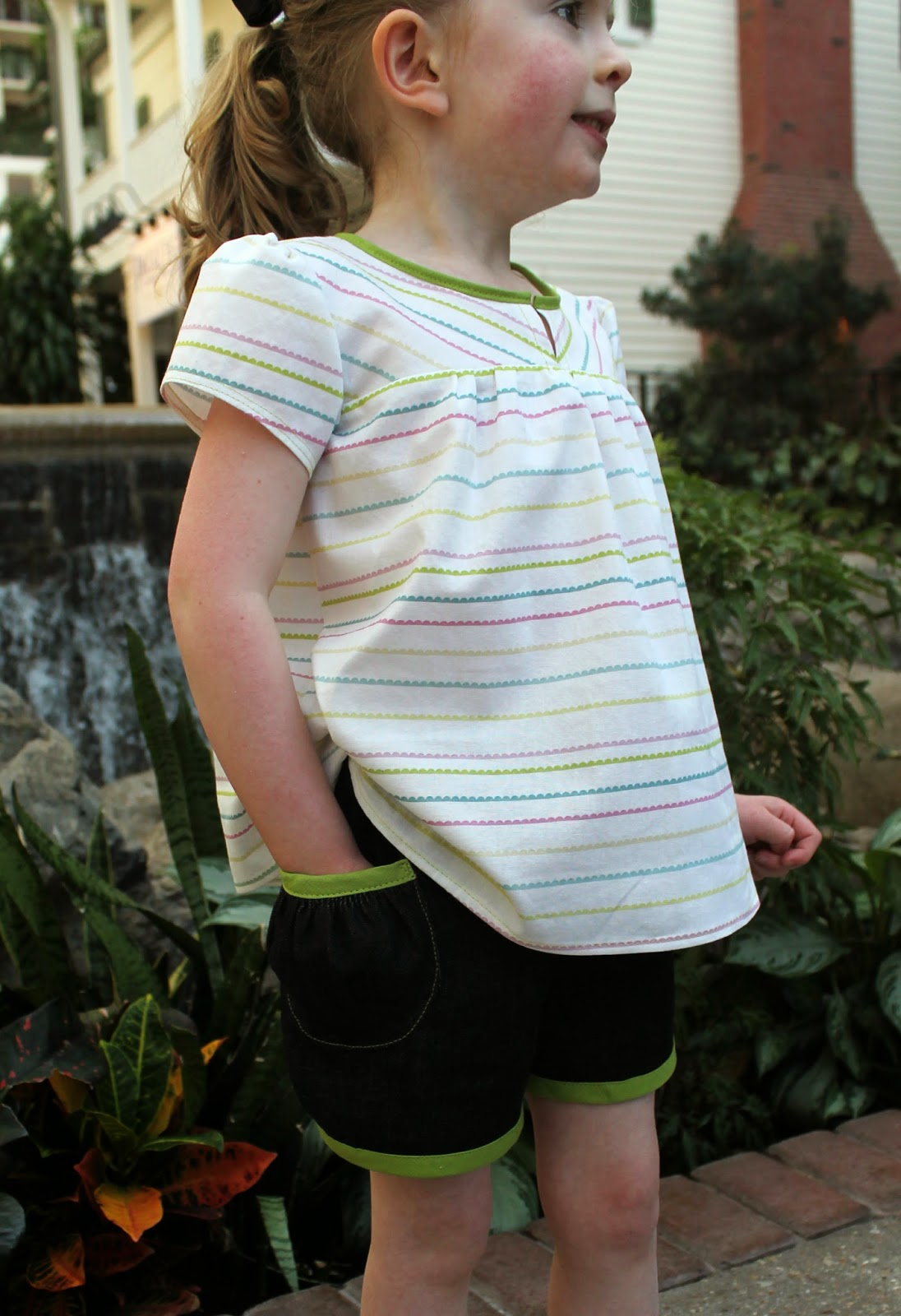 """Mix and match children's separates sewn as solution to Project Run & Play Season 9's Week 2 """"Spring Break"""" Challenge. 