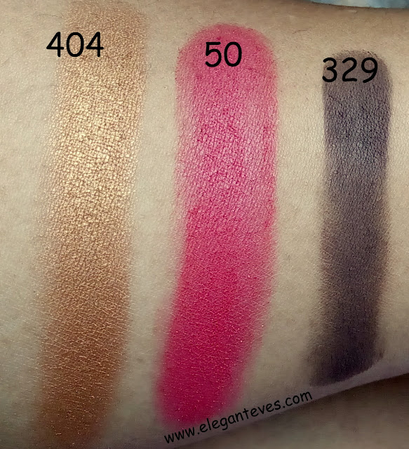 Inglot Freedom System Eyeshadow Refills 50(AMC), 404 (Pearl) and 329 (Matte) swatches