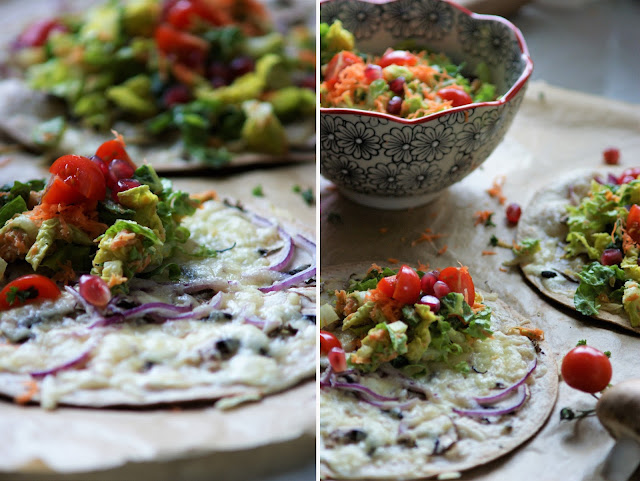 Tortilla Flammkuchen mit Salat Topping