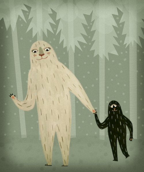 Cute illustration of two sasquatches