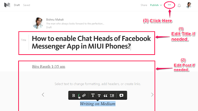 Customize the post on Medium