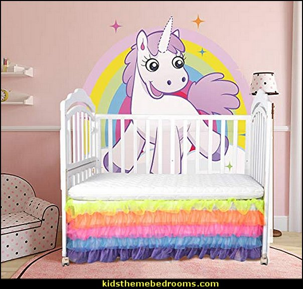 rainbow bed skirt unicorn baby bedroom  unicorn bedding - unicorn decor - unicorn bedroom ideas - unicorns - Unicorn & Rainbows bedrooms -  unicorn duvet - fantasy theme bedroom decorating ideas - fairytale bedrooms decor - pegasus decor - unicorn wall murals - Unicorn bedroom decor - unicorn wall decals - unicorn baby bedrooms - unicorn baby girl bedroom - unicorn crib bedding -