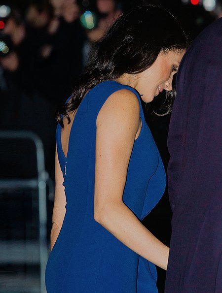 Meghan Markle wore a royal blue midi dress by Jason Wu, Aquazzura Portrait Lady pumps, she carries Dior Bag