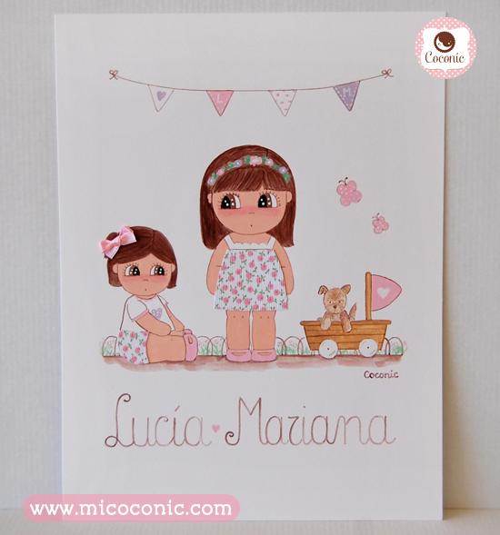 cuadro infantil hermanas perrito banderines lamina personalizada