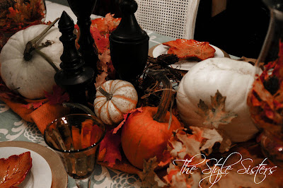 white and orange pumpkins centerpiece