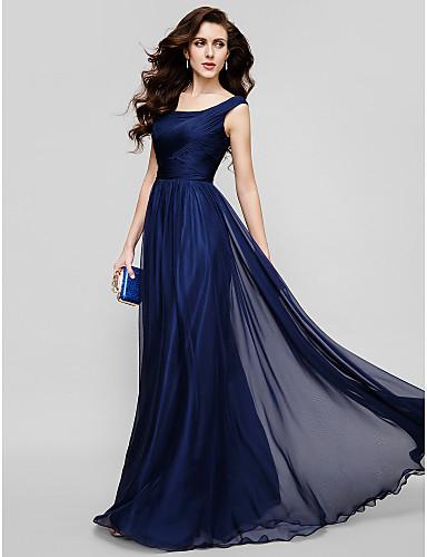 Vestido de Fiesta Azul con Escote Corte Princesa