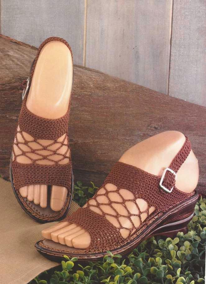 Sandalias Beige a Crochet