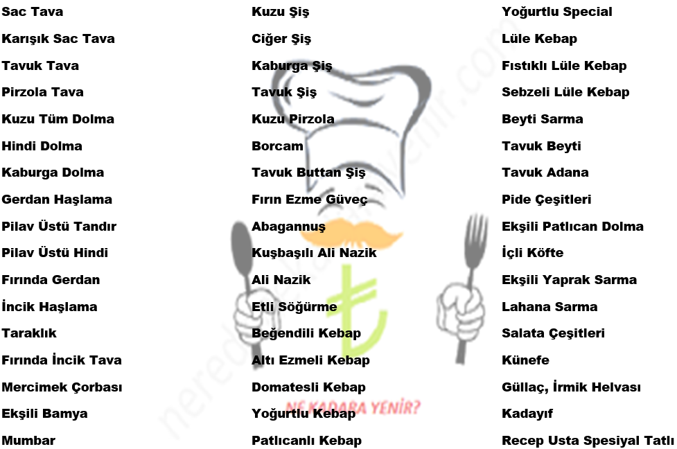 meşhur tavacı recep usta menü fiyatları