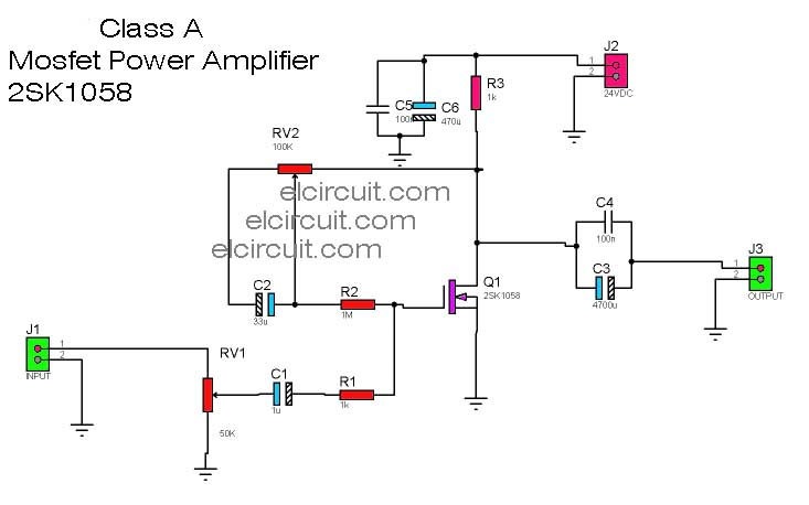 class a mosfet power amplifier 2sk1058 electronic circuit. Black Bedroom Furniture Sets. Home Design Ideas