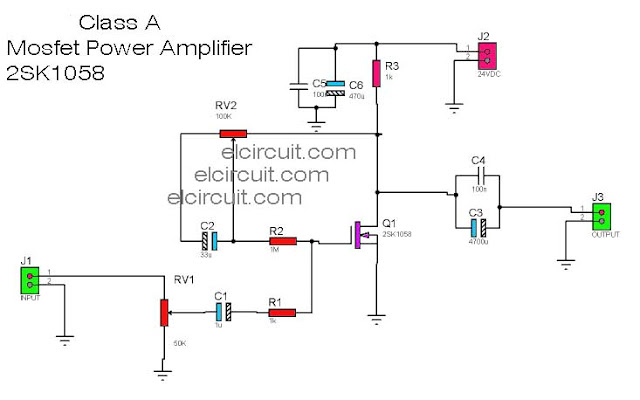 Mosfet Power Amplifier Class-A 2SK1058 Circuit Diagram