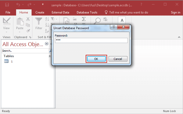 unset access 2016 database password