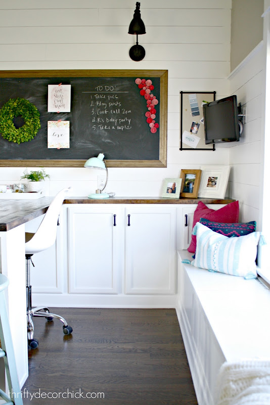 making a desk with kitchen cabinets