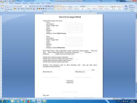 Arsip Kantor Contoh Surat Keterangah Hibah Tanah