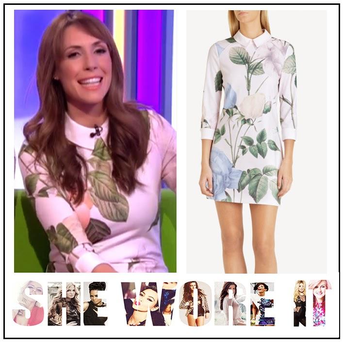Alex Jones, BBC, Collar Detail, Floral Rose Print, Nude, Pale Pink, Pastel Blue, Pastel Green, Short Dress, Ted Baker, The One Show, Three Quarter Sleeves, Zip Detail, Celebrity Fashion,
