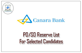 Canara Bank has Declared Reserve List for IBPS (CWE-V) PO/SO :