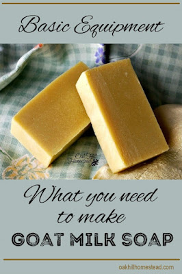 The basic equipment you need to start making soap with goat milk - or any other liquid.