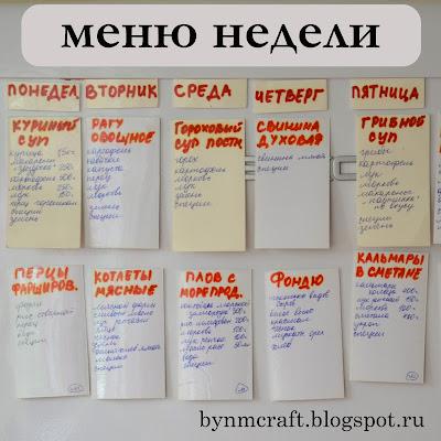 Как составить меню недели