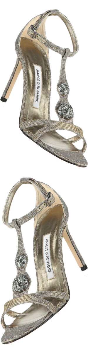 Manolo Blahnik Dixie Metallic T-Strap Sandals