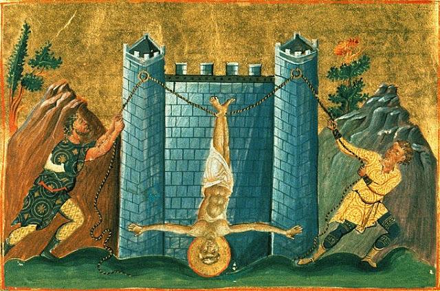 """Μικρογραφία του μαρτυρίου του Αποστόλου Φιλίππου. Από το """"Μηνολόγιο του Αυτοκράτορος Βασιλείου του Β'"""" (κώδικας Vat. gr. 1613). http://leipsanothiki.blogspot.be/"""