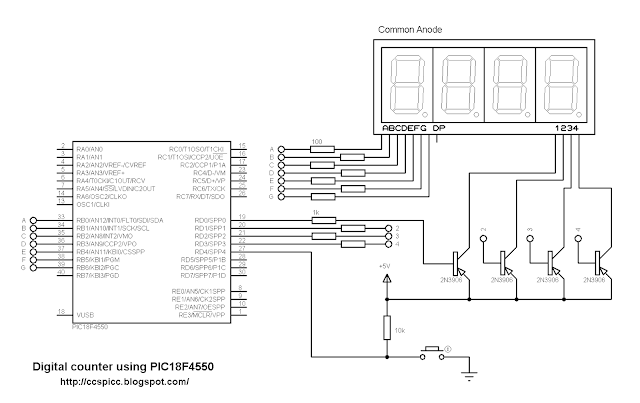 microcontroller pic18f4550 with 7 segment display counter ccs pic c