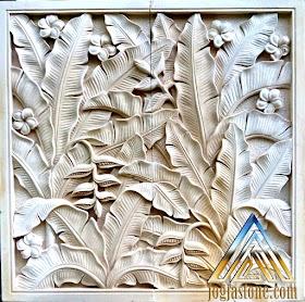 kerajinan dari batu alam paras jogja atau batu putih motif pisang-pisangan