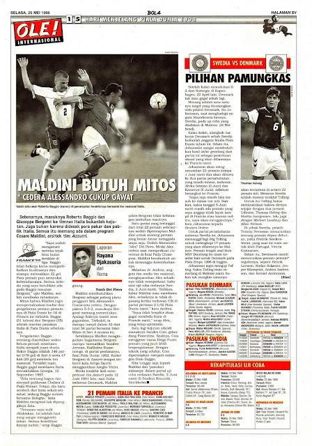 ITALIA PIALA DUNIA 1998 MALDINI BUTUH MITOS