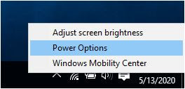 windows power option setting