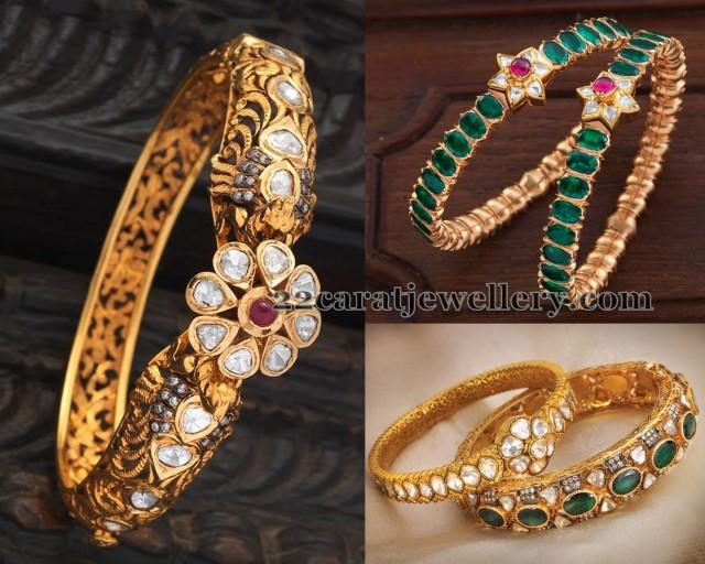 Polki Kundan Bangles Jewellery Designs