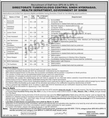 Directorate Tuberculosis Control Sindh Health
