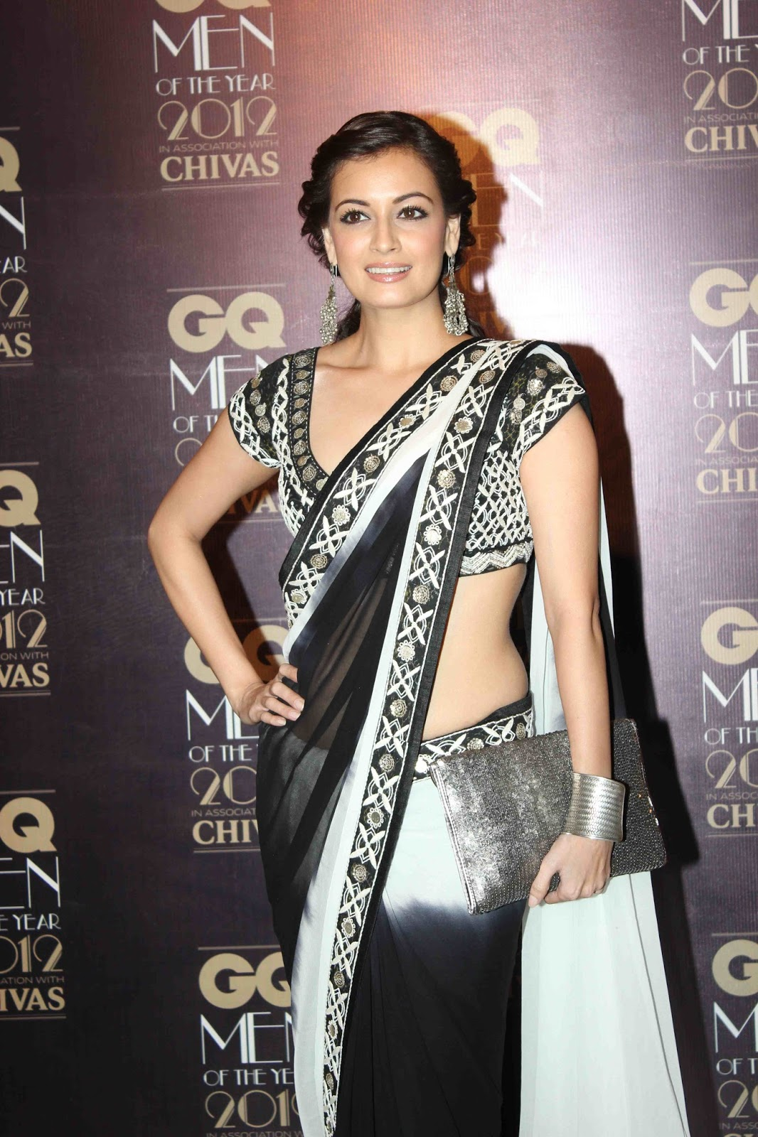 Hot Girls Models Diya Mirza Glamorous Looks In Saree -7024