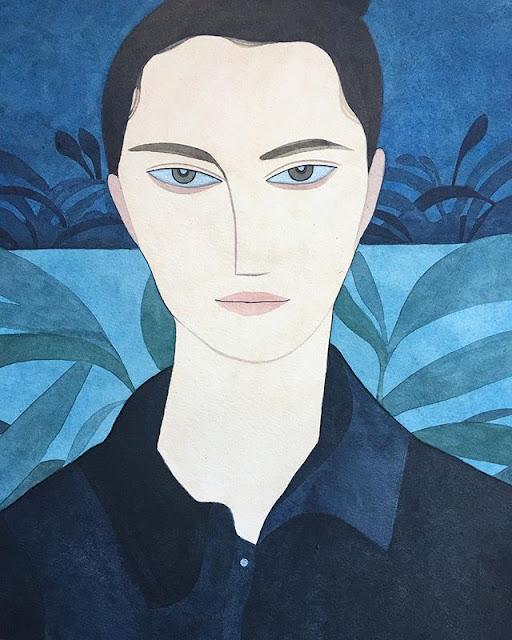 Kelly Beeman arte | dibujo en acuarela de hombre